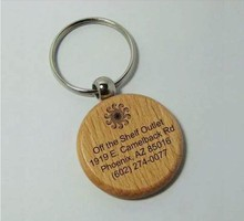 Wholesale good quality wooden metal keychain for promotional gift