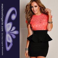Wholesale Peplum Pink Lace Office Dresses For Work In Office
