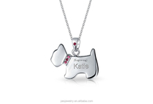 Manufacturer Newest design pink cubic zircon 925 sterling silver dog pendant