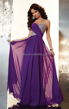 2015 Panoply Sweetheart Beaded Long Chiffon Purple Vestido Prom Gowns Evening Dresses Patterns