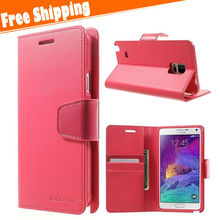 Factory wholesale leather cell phone case for Samsung galaxy note 4 leather flip case cover