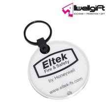 Custom Round Shaped Reflective PVC Led Flashlight Keychain