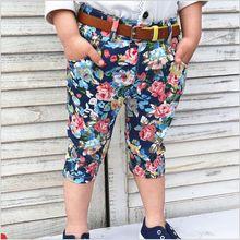 Tide Tong summer new boy pants flower children pants Shorts With Belt