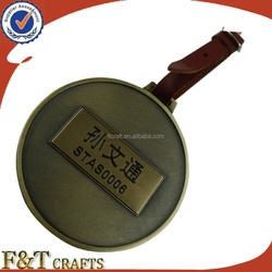 Custom metal golf bag tags name tags with leather strap