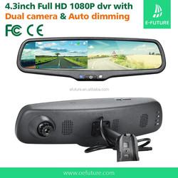 HD 4.3inch dual camera 1080p car dvr rearview, rear view mirror camera dvr