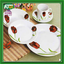 30pcs round ceramic tablware with flower decal