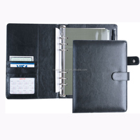 2015 high quality embossed A5 leather diary with ring binder