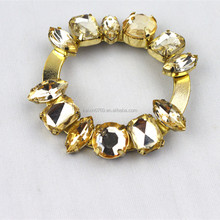 Customized design rhinestone and metal metal ribbon buckle for lady