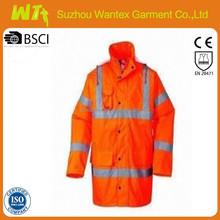 EN20471 wholesale alibaba newly 100% polyester pu safety fluo-ORANGE oil field work o parka/jackets