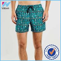 Yihao 2015 hot sell sublimation printed swim shorts custom wholesale mens beach shorts with drawstring