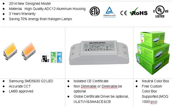 8w aluminum+acrylic 주택 dimmable 원형 리 세스 주도 조명 천장 램프 3 ...