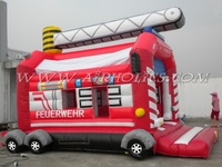 2013 best sale inflatable fire fighting truck jumping castle A1027