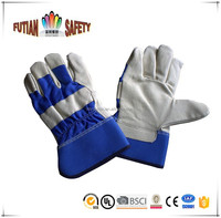 "FTSAFETY 10"" AB cow grain leather working gloves buyer full palm blue back pig skin gloves"