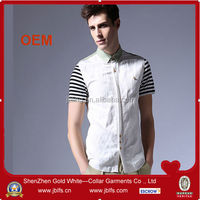 2014 new design fashion cheap splicing mens dress shirt