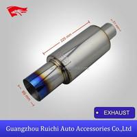 China Best Universal Racing Car Ti Muffler 76MM INLET 380MM Burnt Tips