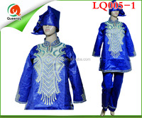 Queensy African embroidery long brocade Bazin Dress LQ005-1
