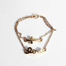 Charm Bracelet, Gold Alloy Religious Charm Bracelet, Bracelet Charm Cross Love Jewelry PT10076 Made In China