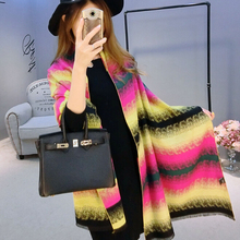 Eye catchy new design cashmere like rainbow strip colorful scarf made in china