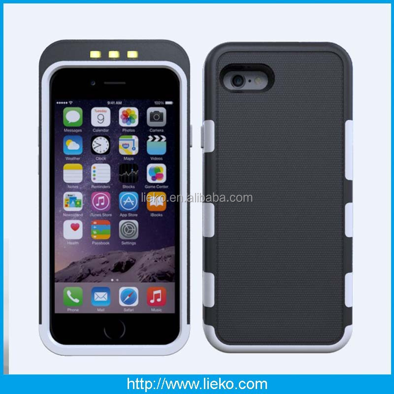 wholesale combo case for iphone case and LED selfie combo case