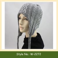 W-2272 winter ski long beanie custom knitted ear flap beanie hat