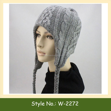 W-2272 winter ski long beanie custom knitted ear flap beanie hat