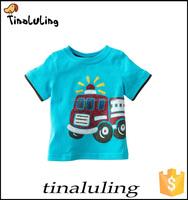 new fashion children clothes boys blue t -shirt with cartoon print wholesale 100% cotton kids t-shirt