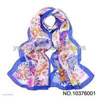 blue border when flowers bloom chiffon stock lady scarf