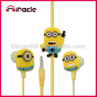 Promotion cheap cartoon earphone Despicable Me Minions earbuds