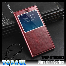 Smart phone thin leather case for Samsung Galaxy note 4, with view window soft pu cover case for galaxy S6