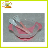 2015 Hot Selling Baby Suction Feeding Bowl With Spoon And Lid