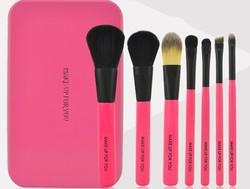 metal case 7 pieces makeup brush set/travel cosmetic brushes