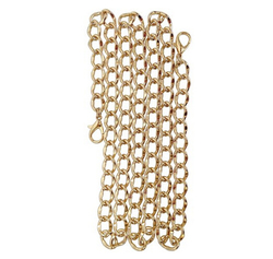 Curbed Link 120 Cm Replacement Purse Chain for Handbag Bag Wallet, Brass Tone or Nickel Tone
