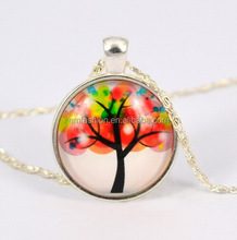 Fashion New Personality Tree Print Gem Alloy Pendant Silver Chain Necklace