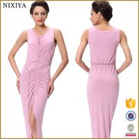 2015 Fashion design lady V neck maxi dress