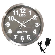 promotional metal wall clock with LED light novel round 14 inch aluminum wall clock