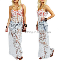Best hot sell European fashion lace floor length dress sexy lady transparent dress