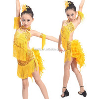 Latest latin dress agirls feather ballroom Latin Dance Costume salsa children girl latin dance dress