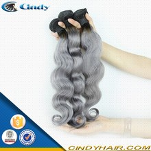 2015 best selling body wave ombre gray 100% natural raw indian human hair weaves extensions wholesale