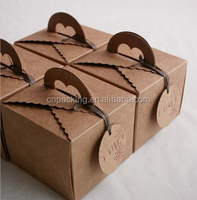 FSC kraft paper foldable Cupcake/cake Boxes with handle