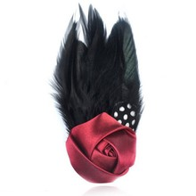 2015 Fashion Feather Brooch Black Feather Brooch Red Rose Brooch