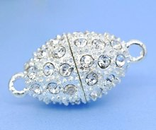 Magnetic clasps, oval, alloy, silver plated, with clear rhinestone, 24x12mm. Sold per packet of 2 sets