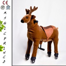 2015 Best Product For Import Ride On Animal Steel Mechanical Walking Animal Riding Brown Reindeer