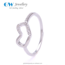 925 Silver Fashion Heart Shaped Diamond Engagement Love Engraved Ring