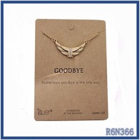 handmade high quality turkish gold thin chains necklaces vintage angel wings necklaces for couple