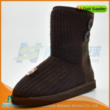 Wholesale winter warm half coffee suede womens wide snow boots