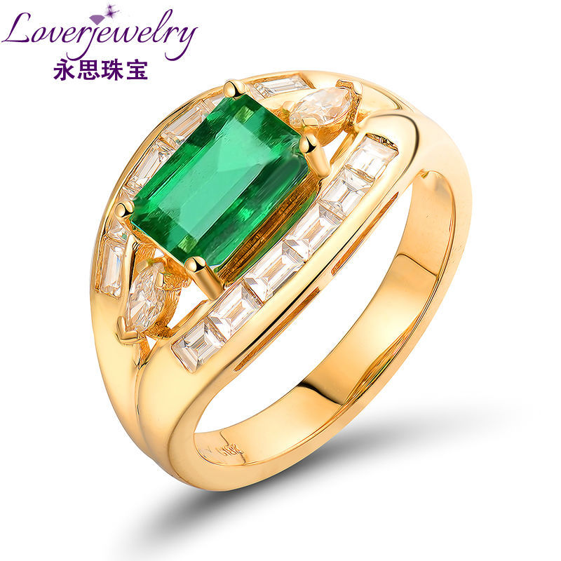18k Yellow Gold Natural Men Emerald Ring With Genuine Marquise Cut Diamond Wu