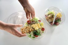 Disposable salad food packaging with PET window