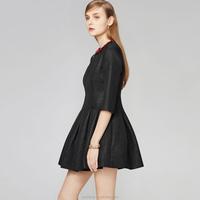 Black women dresses long sleeve plain frock design dress