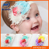Latest lovely fancy elastic chiffon flower stain rose infant headband with fabric flower