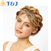 Hair Decoration Hair Band Head Dress Headbandsn Fashion Indian Boho White/Red Beaded Head Piece Women Head Chains Hair jewelry&